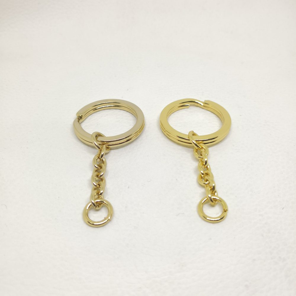 22mm (In-Belt Width) Metal Spring Key Ring set with Small chain