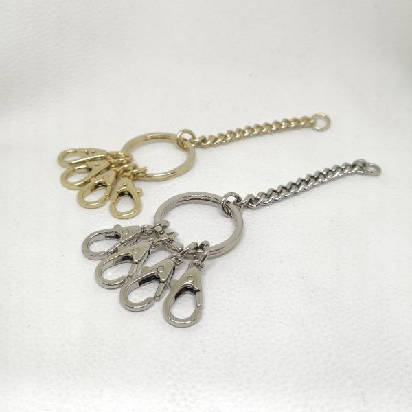 25mm (In-Belt Width) Metal Key Ring Gift Set with 4pcs of Zinc Alloy Small Hook