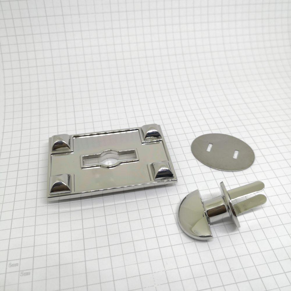 60mm (In-Belt Width) 4-Corner Elegant Rectangular Turn Twist Lock for Handbag / Leather-Made / D.I.Y. Use