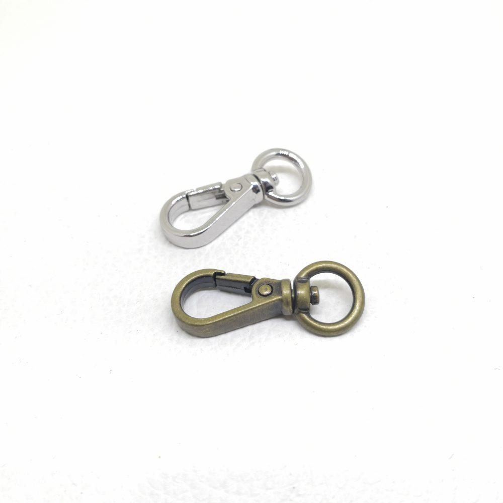 8mm (In-Belt Width) Simple ‧ Small ‧ Slim Zinc Alloy Metal Snap Dog Hook for DIY Key Chain / Handbag Accessories