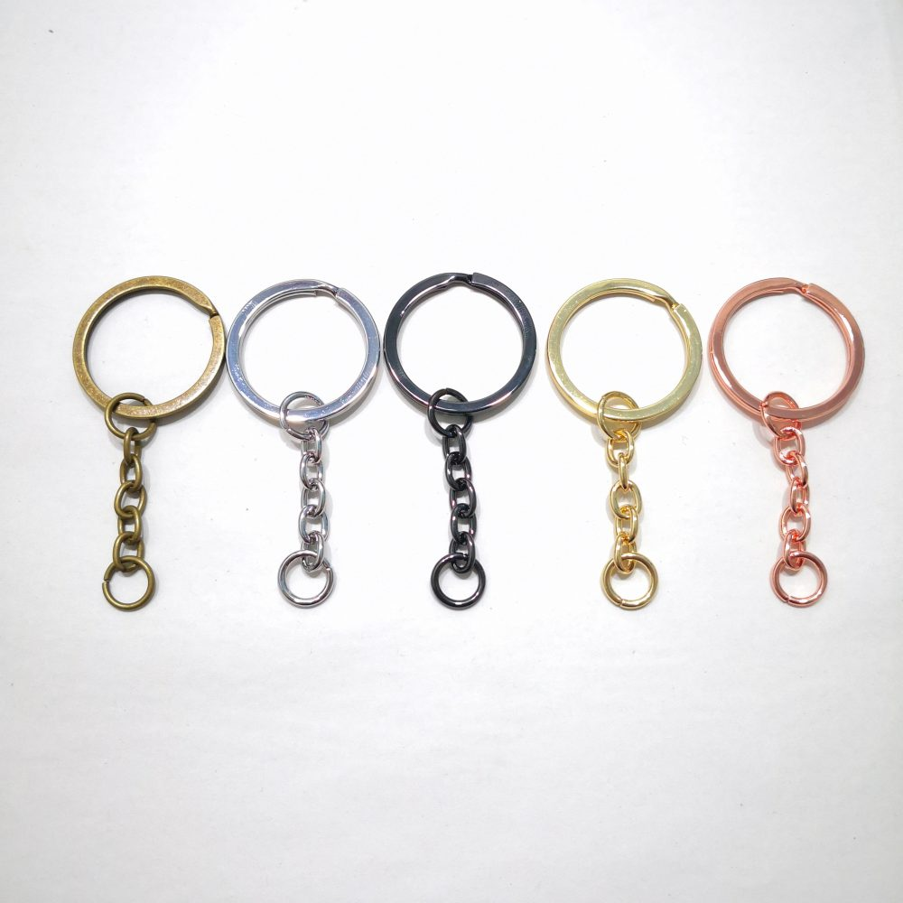 26mm (In-Belt Width) Metal Flat Key Ring with Small Chain